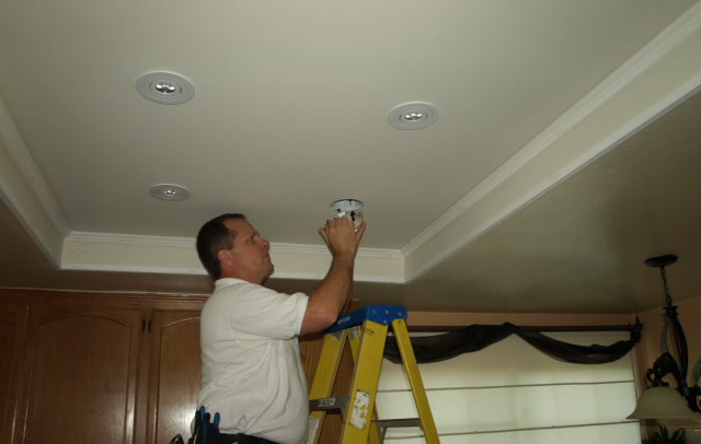 Simi Valley Electrician Installing Recessed Lighitng