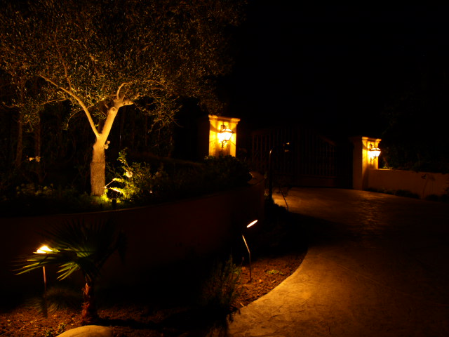 Simi Valley Electrician Outdoor Lighting Driveway at Night