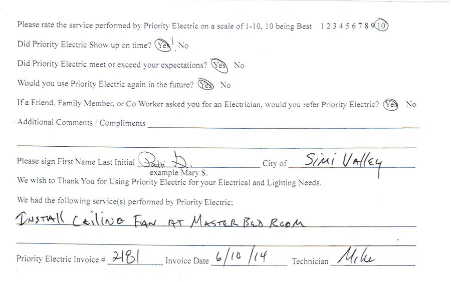 Electrician Review Simi Valley